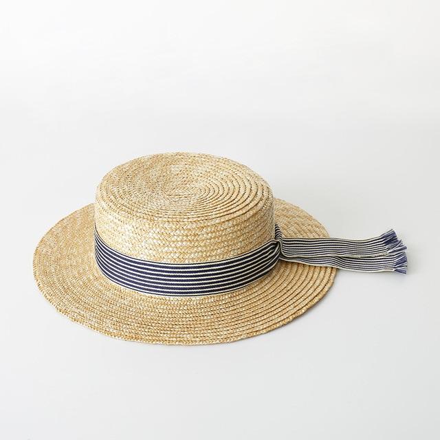 816cfbf8c00b2 Boater Hat Women Summer Sun Hat Fine Straw Hats 2018 Fashion Top Quality Ladies  Hats 681004