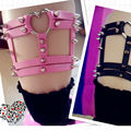 Fashion Heart Leg Garter, Handmade Harajuku Leg Garter Belt , Heart Shaped Punk Goth Studded Rivet Thigh Garter Leg Loop