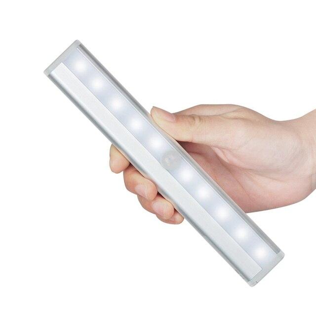 Portable 10 LED Wireless Motion Sensor Light Bar with Magnetic Strip under  Cabinet