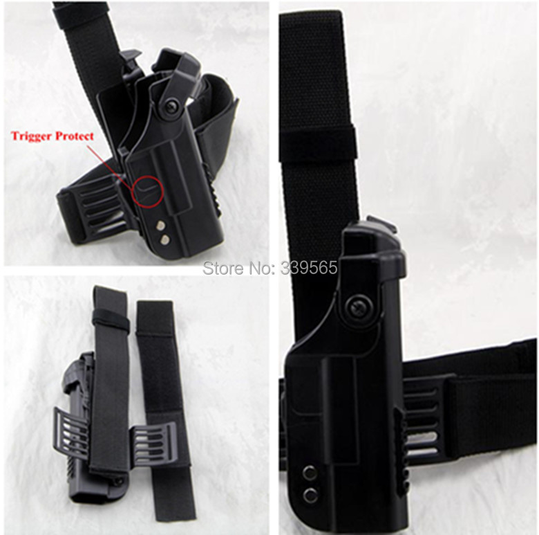 High Quality Double Security Tactical Military Glock Leg holster High quality Adjustable belt Black or Sand