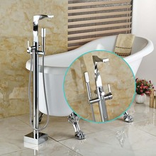 Floor mounted Free standing Bathtub Filler Faucet Bathroom Chrome Clawfoot Bathtub Tub Mixer Taps