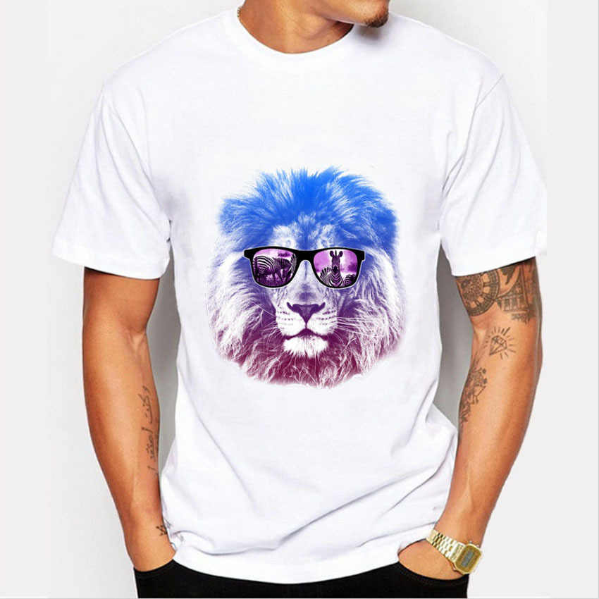 T-shirts Men's new summer arrival glasses lion 3D print funny t-shirt Man casual short-sleeved white cotton Tshirt Men Tops Tees