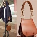 2017 top quality wowen genuine leather rivet saddle bag famous brand designer handbags