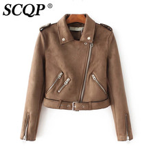 SCQP Suede Zippers Long Sleeve Woman Faux Leather Jacket Fashion Short Ladies Motorcycle Autumn Casual Ourwear 2016 Jacket Women