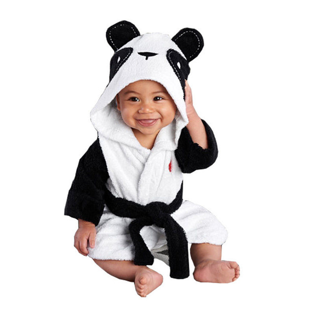 1-2Years Boy Girl Bathrobes Cartoon Panda 48.5CM Length Baby Hooded Bath Towel Infant Bathing Care Soft Towels WA414 T15 0.5