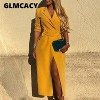 Women Sexy Belted Slit Blazer Dress Spring Long Sleeve Yellow Dresses Elegant Office Lady Workwear Party Dress Vestidos
