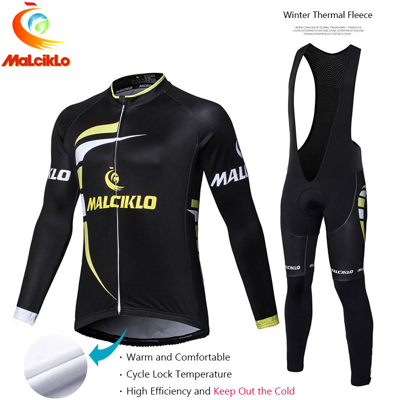Malciklo 2017 Bicycle Cycling Set Winter Thermal Fleece Jersey Long Set Ropa Suit Ciclismo Bike Clothing Pants Warm Cycling Set malciklo winter fleece thermal cycling jersey set long sleeve bicycle bike clothing pantalones ropa ciclismo invierno wears
