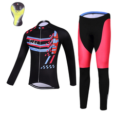 QKI Rhythm Women Winter Cycling clothing Thermal fleece Long Sleeves Cycling Jersey and Cycling Long Pants a Set Maillot+Culote