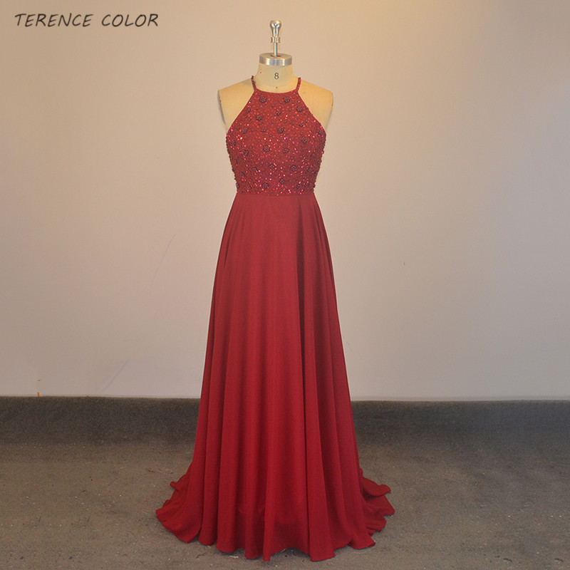 Sexy Halter Burgundy Long   Bridesmaid     Dresses   A Line Ever New Arrival Real Sample Sleeveless Sparkly Beads Backless Wedding   Dress