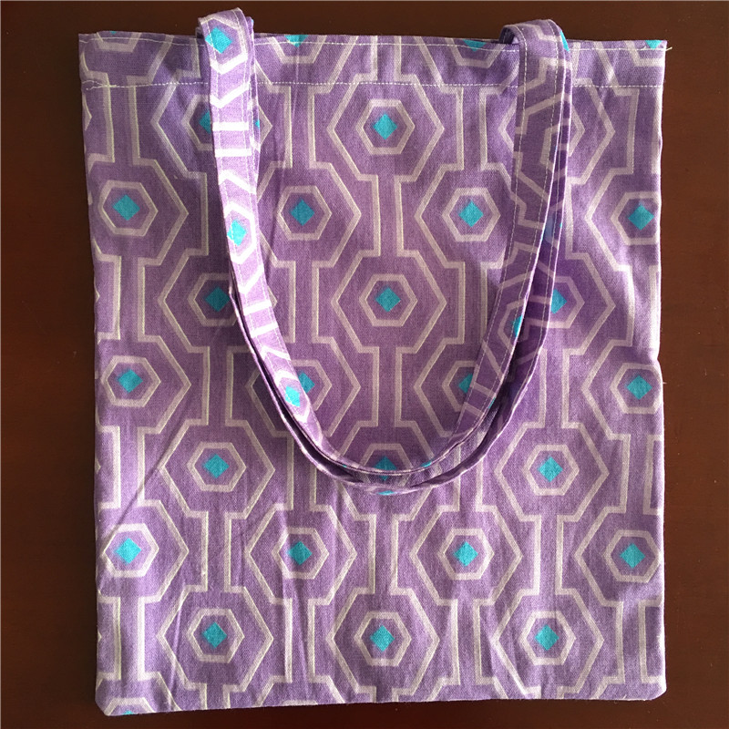 YILE Cotton Linen Shopping Tote Shoulder Eco Bag Print Geometry Green Purple L17-3