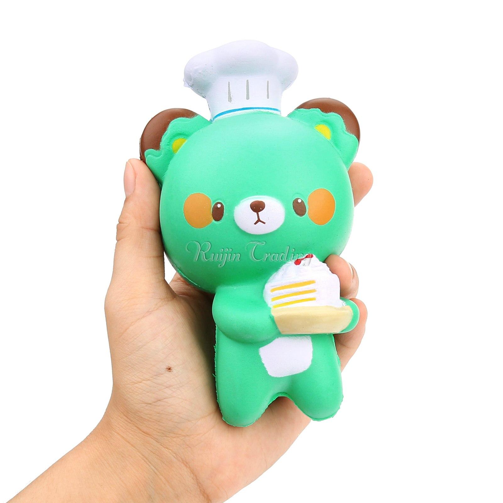 Green Squishy Toys : Slow Rising Kawaii Green Bear Chef Squishy Cute and Squishy
