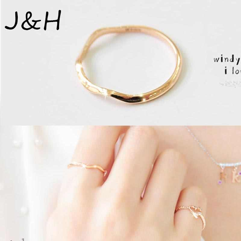 New Hot Gold Color Brief Elegant Lovers Mid Finger Knuckle Ring The Joint Pinky Ring Titanium Simple Thin Ring Drop Shipping