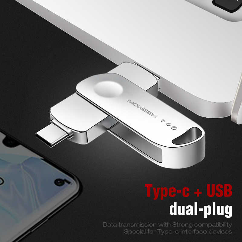 Moweek MF93 USB C flash drive 128GB 64GB tipo C USB Flash Drive 32GB 16GB 8GB OTG usb stick de alta velocidad cle USB 3,0 Pen Drive