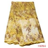 Nigerianischen Tüll Brautkleid Fabrik Preis Gelb Afrikanische Strass Perlen Spitze Stoff Für Pailletten Kleid QF1167B-1