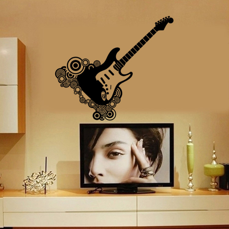 Creative Unique Guitar Wall Decal Sticker Home Decor Wall Art Mural Poster  Guitar Lover Music Room Wall Applique Paper In Wall Stickers From Home U0026  Garden ...
