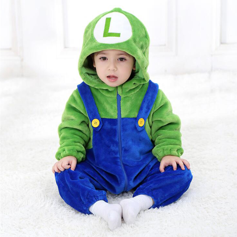 Newborn Baby Girl Boy Mario Luigi Infant Rompers Animal Monkey Onesie Cosplay Costume Outfit Hooded Jumpsuit Winter Spring Suit