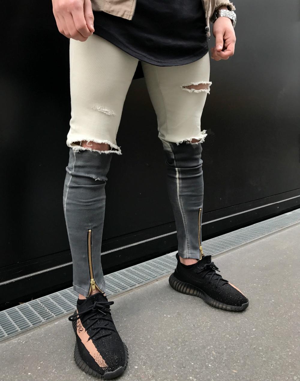 new selection hot-seeling original real quality 2017 Men Knee Zipper Destroyed Jeans Skinny Stretch Fashion Ripped Designer  Pencil Khaki black White Khaki biker Jeans Joggers