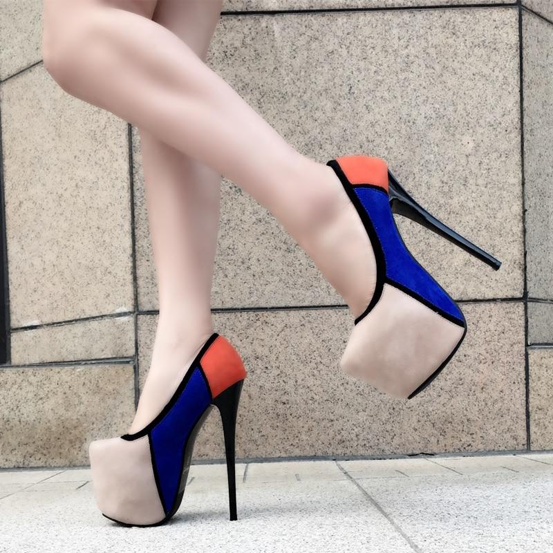 Negro Costura Alto Atractivas Ultra Plataforma Color 2018 apricot De Talón Cm Suede Stiletto Tacones Las 17 Solo Nuevos Impermeable Mujeres Zapatos Hzwqn
