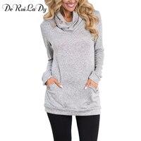DeRuiLaDy Winter Autumn Women Hoodies Female Warm Hooded Sweatshirt Long Sleeve Pockets Casual Loose Pullovers Tops