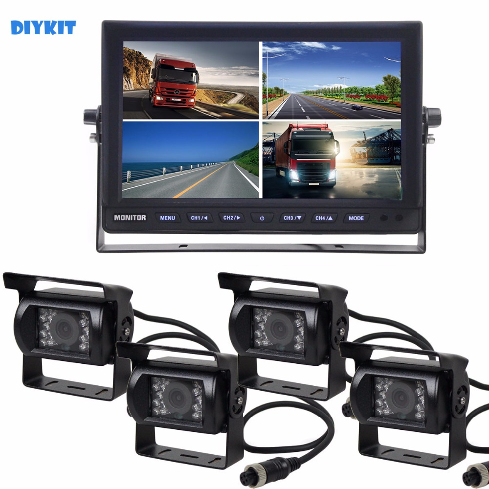 DIYKIT 10Inch Split QUAD Car Monitor 4 x CCD IR Night Vision Rear View Camera Waterproof