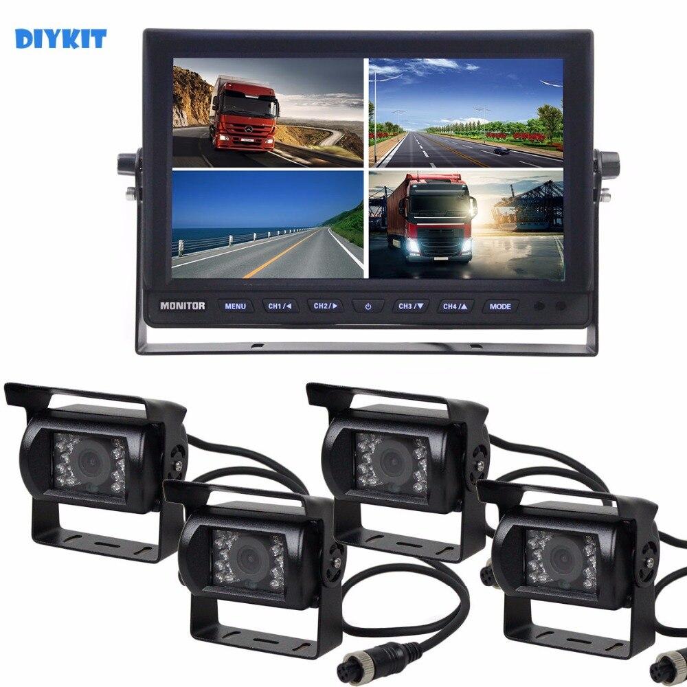 Diykit 10 дюймов Разделение Quad Автомобильный Мониторы + 4 x CCD Ночное Видение заднего вида Камера Водонепроницаемый для автомобиля грузовик авто
