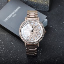 Women Luxurious Rotatable Dial Quartz Watch Ladies Rhinostone Rose Gold Watches Stainless Metal Wristwatch Relogio Feminino OP001