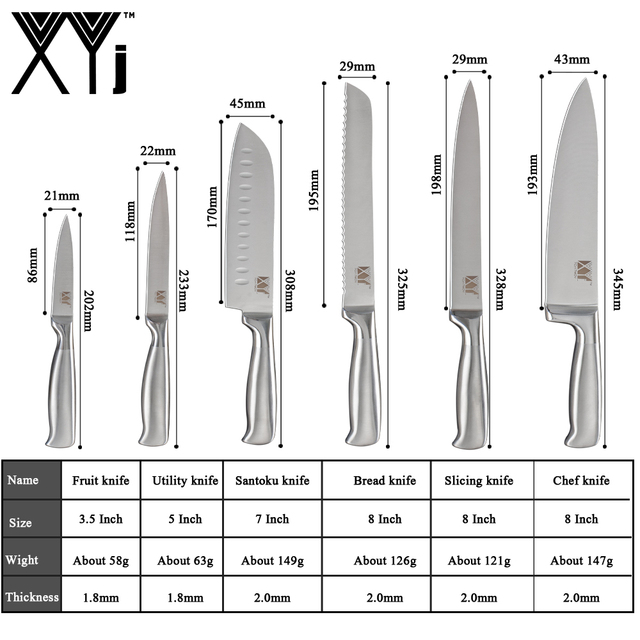 XYj 8pcs Stainless Steel Knife Set Comfortable Handle Sharp Blade Kitchen Chef Knife Sharpener Knife Holder Stand Cooking Tools