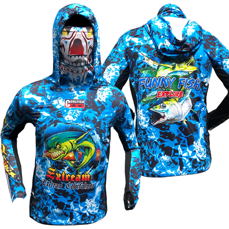 FUN2019 Fast Dry Long Sleeve Fishing Jerseys with Cap Guard Arm Multi functional Fishing Clothing Blue