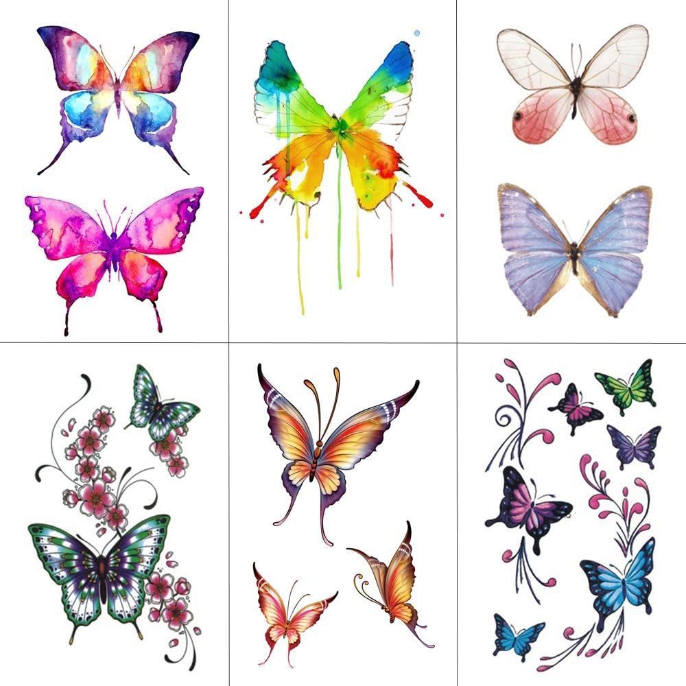 WYUEN Butterfly Women Temporary Tattoo Sticker Tattoos for Men Fashion Body Art Kids Children Hand Fake Tatoo 10.5X6cm A-075