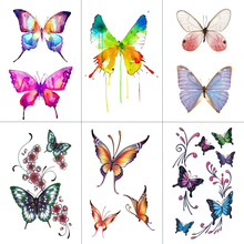 WYUEN Butterfly Women Temporary Tattoo Sticker Tattoos for Men Fashion Body Art Kids Children Hand Fake Tatoo 10.5X6cm A-075