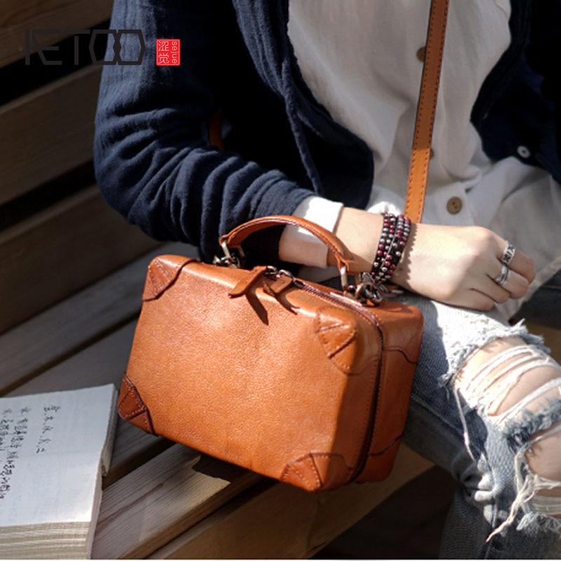 82cebac8f4ffd AETOO British retro handmade cowhide leather shoulder portable diagonal bag  casual compact box type bag ladies and women models