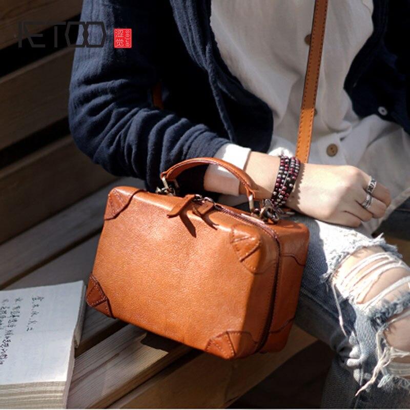 AETOO อังกฤษ retro handmade cowhide หนังไหล่แบบทแยงมุมแบบพกพากระเป๋าขนาดกะทัดรัดกล่องกระเป๋าสุภาพสตรีและผู้หญิงรุ่น-ใน กระเป๋าสะพายไหล่ จาก สัมภาระและกระเป๋า บน   1