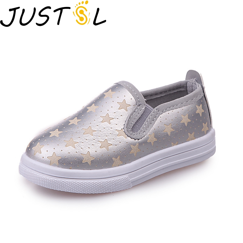 JUSTSL Five-pointed star children's casual shoes wild fashion kids flat shoes 2018 autumn new girls boys shoes size 21-30