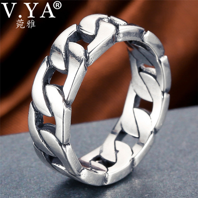 V.YA 100% 925 Sterling Silver Ring Punk Ring Cycle Chain Finger Rings for Men Fine Jewelry Big Size Couple Ring Men Jewelry
