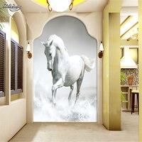 Custom Photo Wallpaper 3d White Horse Gallop Living Room TV Background Mural Wall Paper Papel De