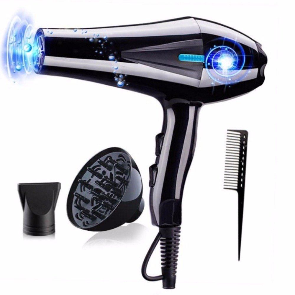 REBUNE 2500W 220V Hair Dryer Blue Light Anion Ceramic Ionic Fast Styling Blow Dryer AC Motor Salon&Home Use фен light ionic fifties ceramic 2200w бирюзовый