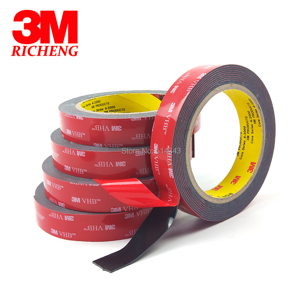3M VHB 5952 Double Sided Pressure Sensitive Adhesive Acrylic Foam Tape, Dark Gray Color, 1.1mm Thickness, 20MM*3M, 1Roll/lot3M VHB 5952 Double Sided Pressure Sensitive Adhesive Acrylic Foam Tape, Dark Gray Color, 1.1mm Thickness, 20MM*3M, 1Roll/lot