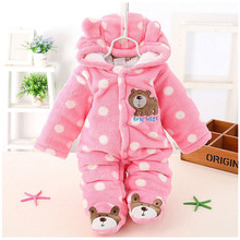 Hot sale ! 2017 Kids Outwear Baby Winter Thick Romper Cartoon Animal Graffiti Snowsuit Toddler Boys Girls Jumpsuit TN165