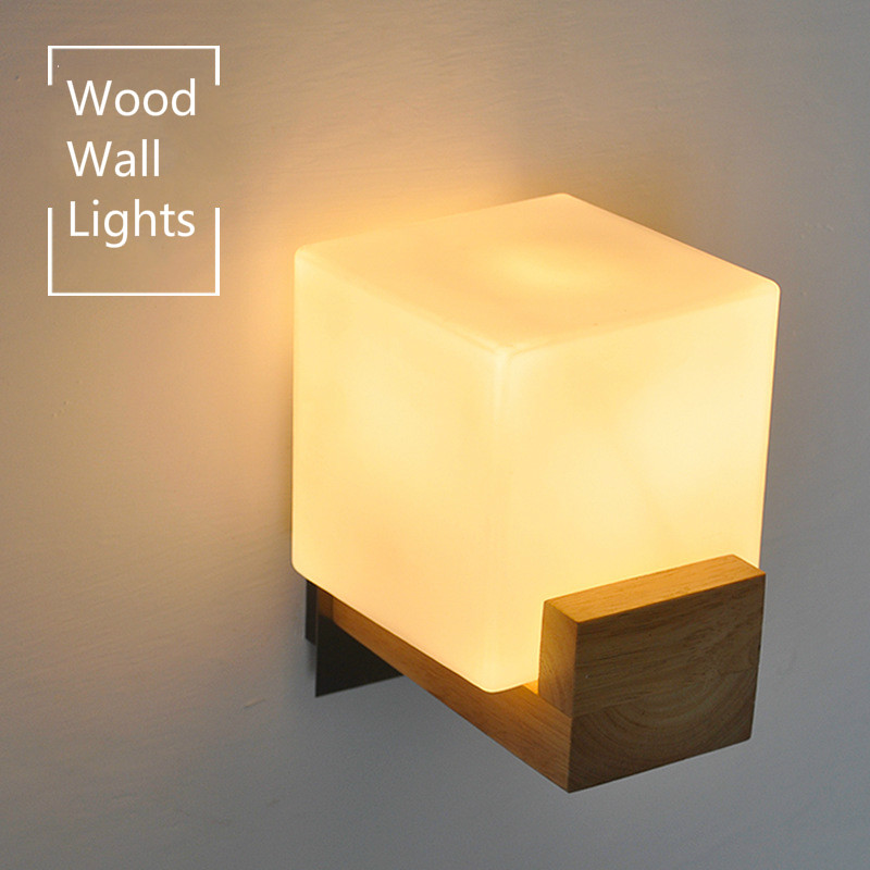 Modern Brief Oak Wood Wall Lamp white glass lampshade wall sconce for home lighting bathroom bedroom corridor light IY121753