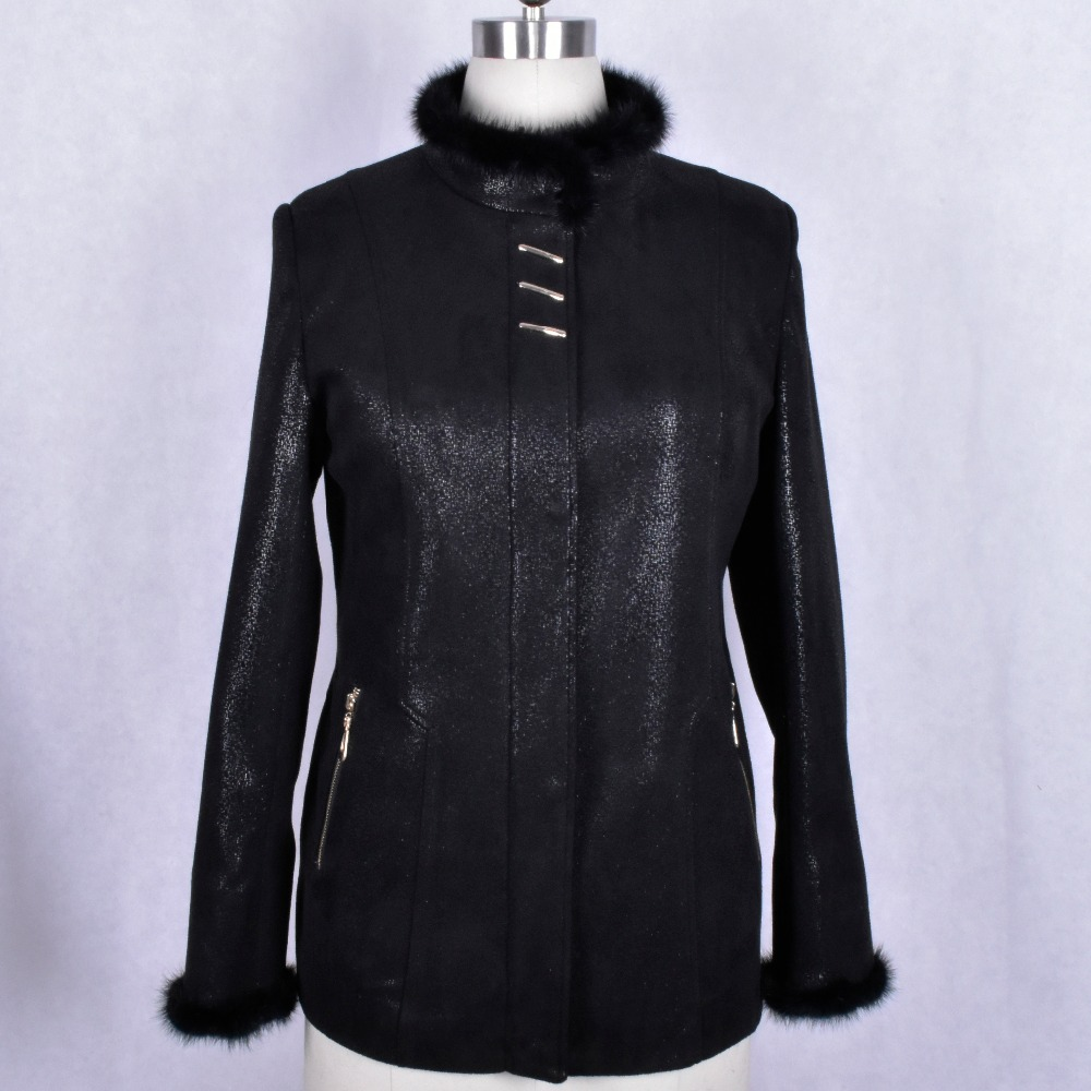 real natural Genuine Leather Mink fur trim autumn printing Clothing Wholesale factory direct supplier women s