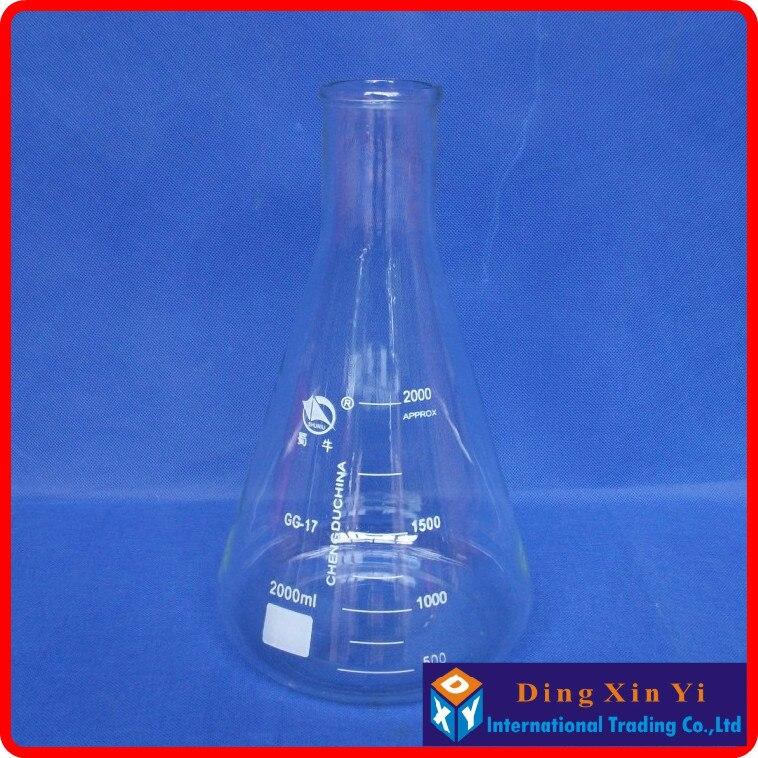 2000ml Glass Erlenmeyer Flask 2000ml glass conical flask Laboratory use 2000glass triangle flask BORO glass,GG17 conical iodine quartz flask with stooper triangle quartz flask