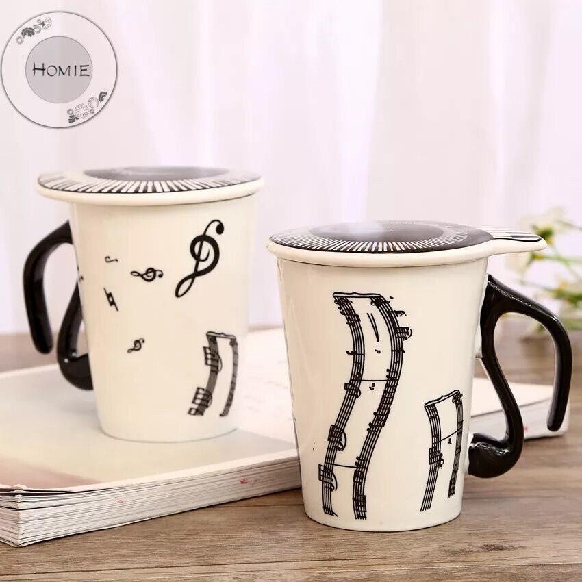 HOMIE Cute Simple piano music Ceramic Coffee Mug Large 300ml Animal Mugs creative Drinkware Tea milk Cups Novelty Newlywed couple05