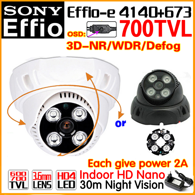 Big Sale!1/3Sony CCD Effio-E Real 700TVL Analog Hd Security Surveillance Cctv Camera Osd Indoor Dome Infrared Array Night Vision free shipping infrared video camera ccd sony effio e 700 tvl high definition surveillance camera six lamps array waterproof
