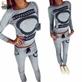 FEITONG Fashion print 2 piece set women pant and top Short Sweatshirt Round Neck Long Sleeve Shirt Long Pants ensemble femme
