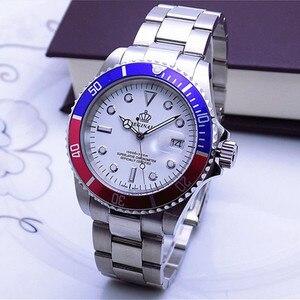 Image 3 - Luksusowe Hk korona marka mężczyźni zegar obrotowy Bezel GMT Sapphire data stalowo złoty sport niebieska tarcza kwarcowy zegarek wojskowy Reloj Hombre