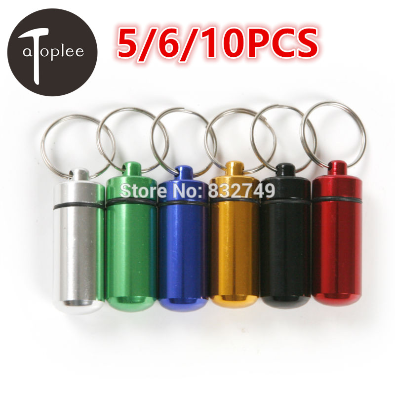 5/6/10PCS Mini Portable Aluminum Alloy Waterproof Pill Capsule Keychain Pill Case Bottle Colorful Tools zomgo stylish protective aluminum alloy bumper case for iphone 5 5s deep pink