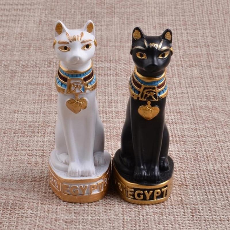 3*2*6.5cm Desktop Cat Miniature Figurine Home Decor Accessories  Gift Egyptian Cat God Ornaments Resin Crafts Book Shelve