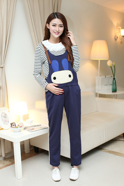 New Maternity Clothes Cartoon Suspender Trousers 4 Colors Spring&Autumn Pregnancy Overalls Belly Brand Pregnant Women Pants