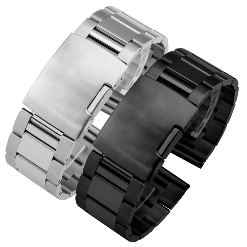 28mm Solid Stainless Steel Watch band black and silvery replacement metal strap for Seven Friday watch chain image