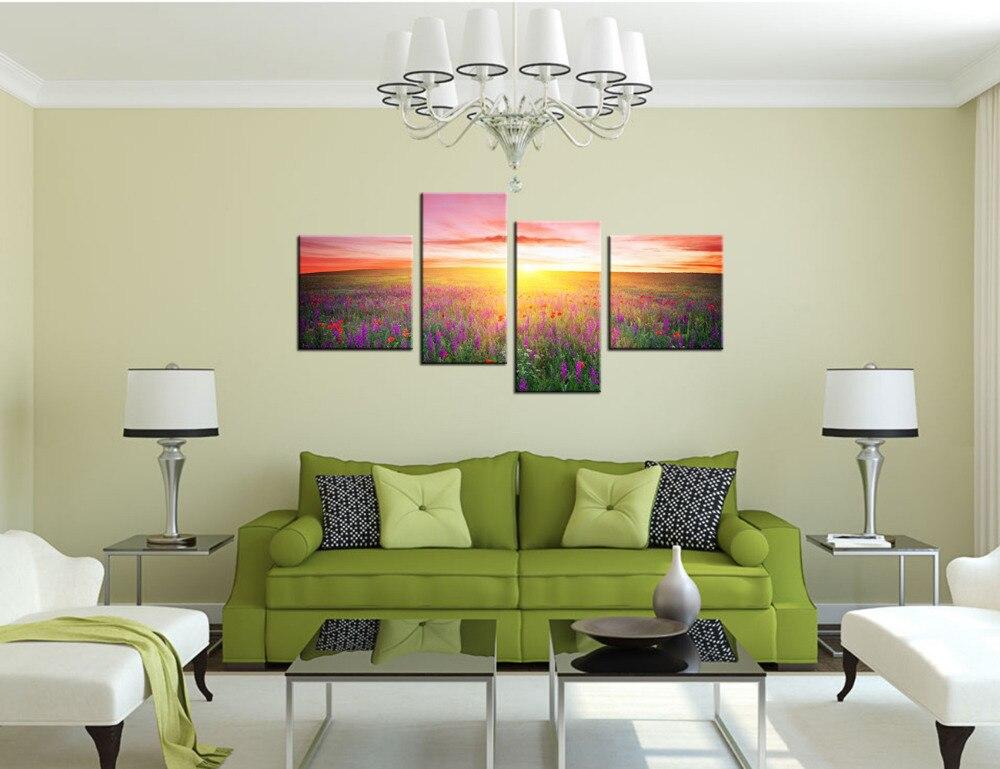Super Lever du soleil Toile Wall Art Imprimer Provence Lavande Domaine  KM85